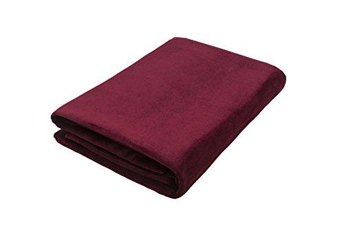 McAlister Textiel Mat Fluwelen Deken | Wijn Rood Luxe Effen Warm Velours Stoel Slaapbank Cover | 130 x 200cm