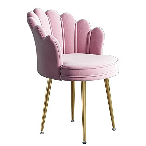 Accent Chairs Schminkstuhl,Bequemer Schreibtischstuhl ohne Räder,Samt gepolsterter Akzentstuhl,Mid Century Modern Stühle für Wohnzimmer Schminktisch Schlafzimmer Esszimmer,Rosa