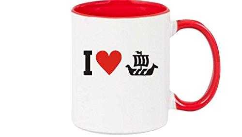 Shirtstown Taza de Café i Love Barco Vikingo, Capitán - Rojo, 375 ml