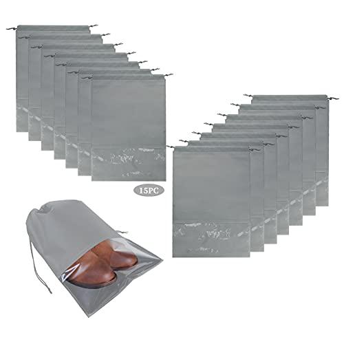 Paquete de 15 bolsas grandes para zapatos de viaje, EsLuker.ly no tejidas, organizador de almacenamiento con cordón para hombres y mujeres (gris)