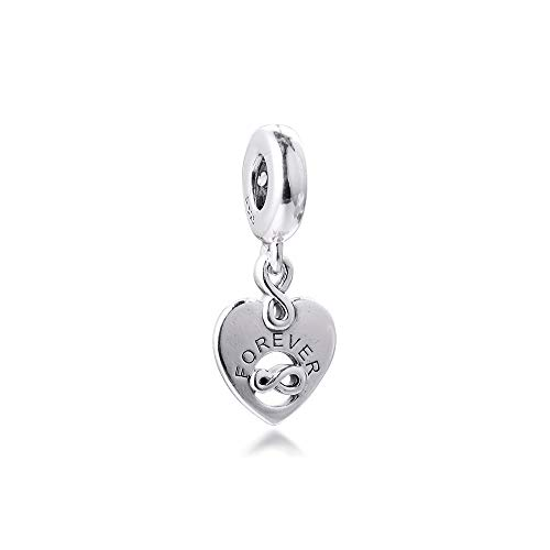 WUXEGHK Heart Dangle Charm Jewellry Pulseras Colgante Silver S925 Charm para Mujeres