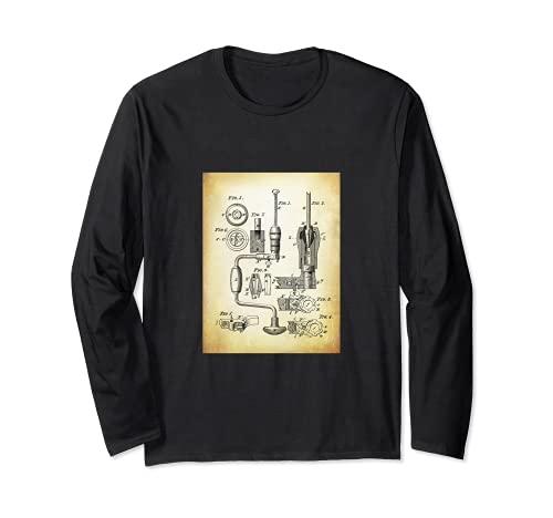Taladro de Mano Camisa con Patentes Retro Antiguo Cool Manga Larga