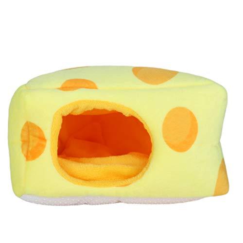 01 Casa para Dormir con Forma de Queso Lovely Nest Fleece Hut Winter Warm Hamster Sleeping House con Aberturas semicerradas, para Mascotas pequeñas