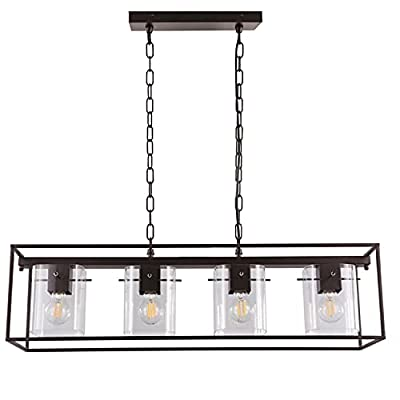 Vintage Chandeliers Pendant Lighting Fixture for Dinning Room Kitchen Island Farmhouse Industrial Glass 4 Light Oil Rubbed Bronze
