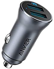 Anker PowerDrive II 2-port 24 W legering, USB billaddare, 24 W metallladdare, stöder 22,5 W Huawei High-Speed Laddning, för Huawei P30/Mate 30/20/Pro, iPhone 11/XR/XS/X/8 och mer
