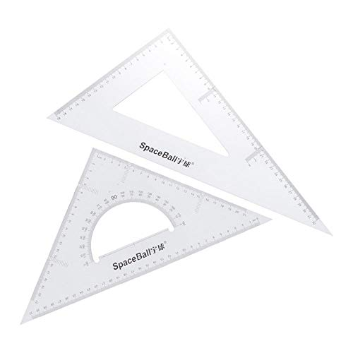 joyMerit 2X Clear 30/60/45/90Degree Geometry Triangle Ruler for Math Drawing Measure