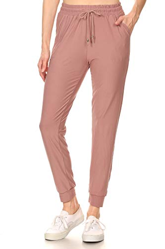LA12ST Women's Juniors Soft Dark Pink Jogger Pants Drawstring Pockets