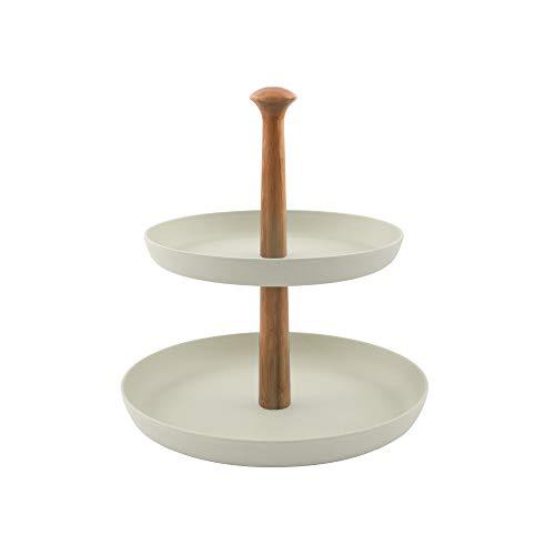 Point-Virgule Etagere mit 2 Etagen zum Servieren von Brownies oder Anderen Desserts, Küche Deko Ständer mit Bambus Schalen, 19 cm und 25 cm Durchmesser, inklusiv Stangen Set, weiß