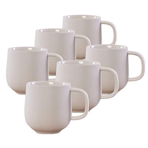 KØZY LIVING Juego de 6 tazas de cerámica de 350 ml con asa, diseño nórdico escandinavo, perfecto para café o té, color crema mate