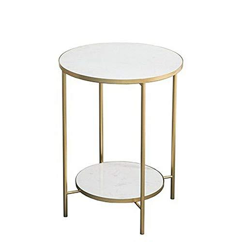 Couchtische HAIZHEN Leichter extravaganter Marmor-Beistelltisch 2-stufiger Sofa-Tisch Golden Frame Nachttisch für kleine Apartments