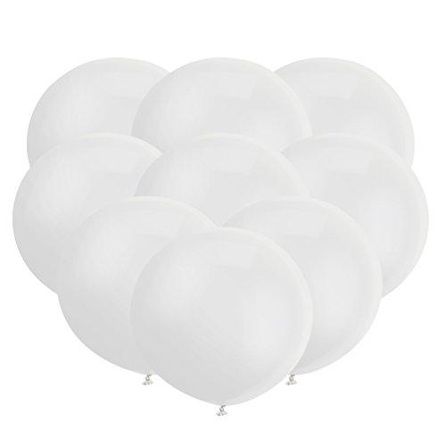 18 Zoll Großer Runder Ballon Latex Riesiger Luftballone Jumbo Dicke Ballone für Foto-Aufnahmen / Geburtstag / Hochzeitsfest / Festival / Event / Karnevals-Dekorationen 30ct / Pack Weiß