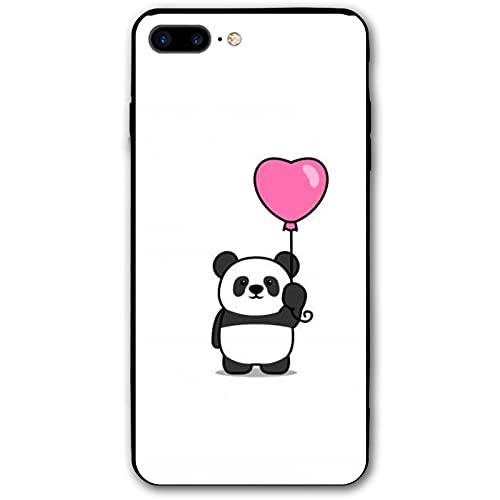 Panda - Carcasa para iPhone 7 y 8 Plus, diseño de dibujos animados, antideslizante, cobertura de 360 grados, protección transparente para estudiantes iPhone 7/8 Plus, color negro