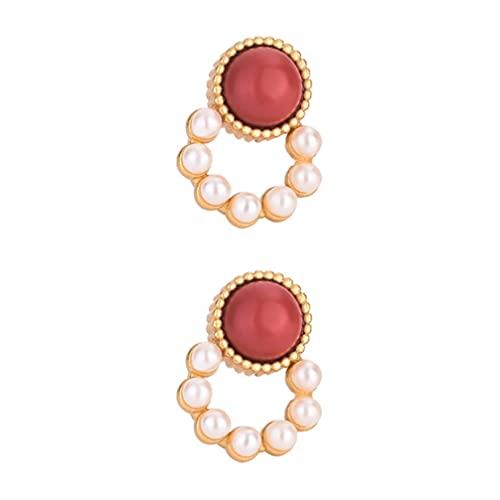 PRETYZOOM 1 par de Pendientes de Perlas con Cuentas Mujeres Niñas Regalo de Cumpleaños Pendiente de Personalidad Única