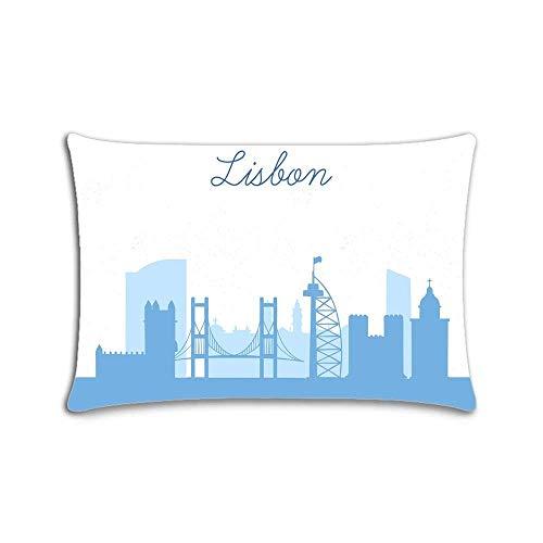 Funda de almohada personalizada con diseño de silueta de la ciudad de Lisboa con cremallera, 20 x 30 pulgadas, impresión a dos lados