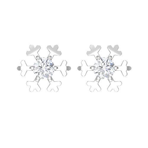 Pendientes de tuerca de moissanita de 1/2 quilates, diseño floral, copo de nieve para mujer (moissanita redonda de 4 mm, corte brillante, con rosca blanco