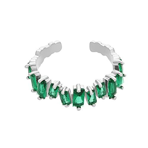 Anillo de compromiso de zafiro blanco con diamantes de imitación y diamantes de imitación de eternidad de colores para boda, anillo de arco iris(7)