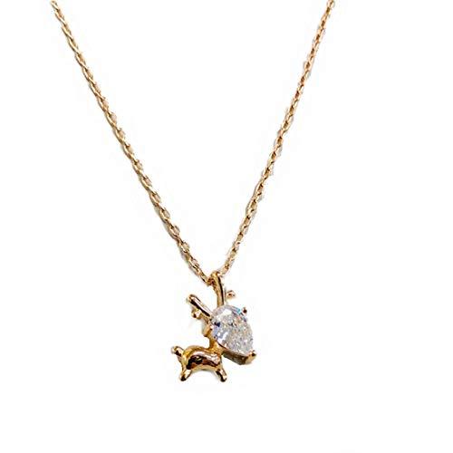 WDBUN Halskette Anhänger Persönlichkeit Sen Set Diamant Hirsch Halskette weibliche Schlüsselbeinkette niedlichen süßen Weihnachtselch Anhänger Halskette Schmuck Weihnachts Geburtstagsfeier Geschenke