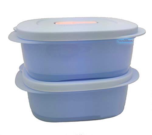 Tupperware® CrystalWave 2X 500 ml hell-blau Mikrowelle Kühlschrank Brotdose Lunch-Box tolle Neuheit! NEU