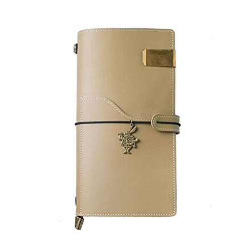 JJH Cuadernos Finos de Cuero Genuino, Libro de Manos de Viajero Vintage Cuaderno Revistas, Diario Hecho a Mano Toma de teléfono (2 Colores) (Color : Olive Green, tamaño : 22x12.5cm)