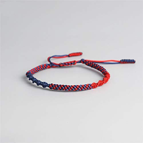 ANGYANG Woven Bracelet,Red With Blue Rope Exquisite Braided Adjustable Charm Bracelets Tibetan Buddhist Jewelry Lucky Friendship Gift For Boy Girl Couples Men Women