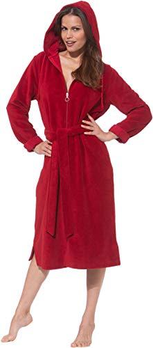 Morgenstern Bademantel Damen lang mit Reißverschluss Größe XL Rot Saunabademantel Damenbademantel mit Kapuze Frauen Baumwolle Microfaser Viskose