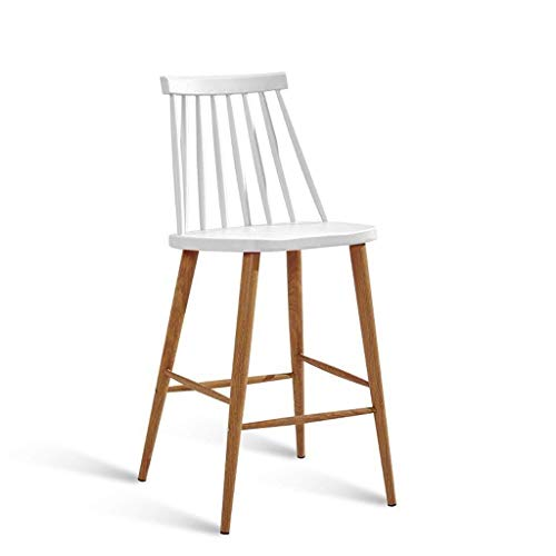 N/Z Daily Equipment Bar Stools Dining Chairs Home High Stool PP Material Cushion Backrest Steel Tube Thermal Transfer Wood Grain Leg Breakfast Kitchen Island Counter Bar Stool (Color : C)