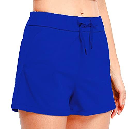 Dasongff Pantalones cortos de deporte para mujer, pantalones cortos de verano, elásticos, ligeros, para correr, para el tiempo libre, fitness, deporte, yoga, con bolsillos y cordón