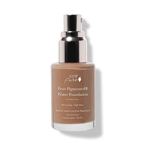 100% PURE Water Foundation (Fruit Pigmented), Warm 6.0, Full Coverage, Semi-Dewy Finish, For Normal, Dry Skin (Warm w/Peachy Undertones for Tan Skin) - 1 Fl Oz