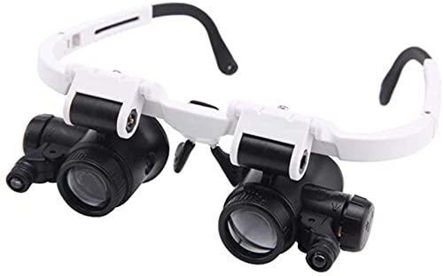 Tipo de Gafas Lupa para Montar en la Cabeza HD 23x 8X con Luces LED para Anciano Lectura de Libros Identificación Relojes Reparación Lupa Ayuda Visual