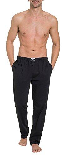 HAASIS BODYWEAR, Herren Pyjamahose lang mit Seitentaschen, Single Jersey, Reine Baumwolle, Gummibund mit Kordel, Größe:M, Farbe:schwarz