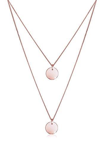 Elli Collana con Pendente Cerchio da Donna in Argento 925 Rosato, Oro Rosa