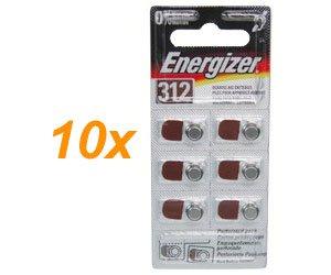 60xEnergizer Typ 312 Knopfzelle / PR41 / Hörgerät-Batterie