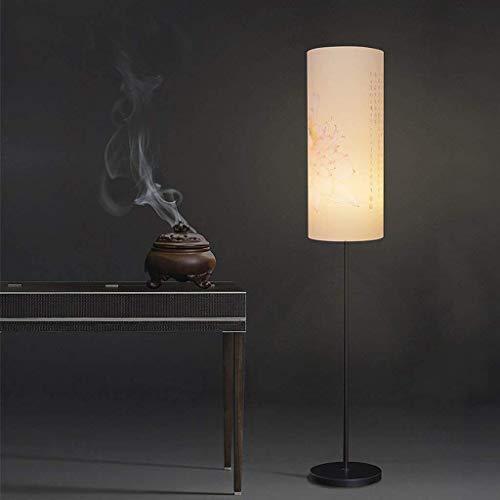 Busirsiz Conducido china elegante lámpara de pie, dormitorio de noche Tela vertical creativo simple moderna sala de estar lámpara de escritorio, E27 Eye-Cuidado Vertical luz del piso