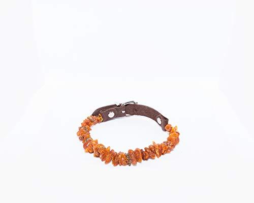 Leather Dog & Cat Collar Collar from Raw Baltic Amber Stone   100% Natural & Handmade Collar   Pet Ticks & Flea Neck Collar   Standard Size - 50-53CM