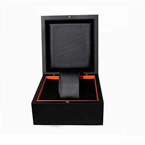 Suytan Cajas de Alenamiento de Relojes Colección de Joyas Organizador de Estuches Caja de Reloj de Madera Caja de Alenamiento de Exhibición de Relojes de Calidad Superior,Negro,14,5X14,5X9,5 cm