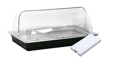 Gastro-Bedarf-Gutheil Kühlsystem GN 1/1 Kühlschale Komplettset mit Rolltop Haube und 2 Kühlakku Kühltablett Schale für Buffet Wurstplatte Fischplatte Fleischplatte Käseplatte