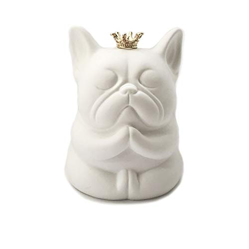 Frenchie French Bulldog Handmade Super Cute Zen Sitting Figurines Ornament Statue (White)