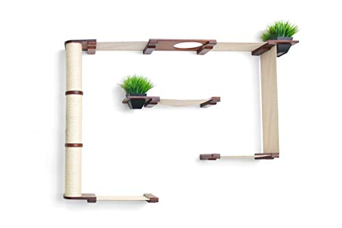 CatastrophiCreations Mini Garden - Multiple-Level Cat Hammock & Climbing Activity Center - Wall-Mounted Cat Tree Shelves English Chestnut/Natural