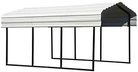 Amazon Com Arrow Shed 10 X 20 X 7 29 Gauge Carport With Galvanized Steel Roof Panels 10 X 20 X 7 Black Eggshell Garden Outdoor
