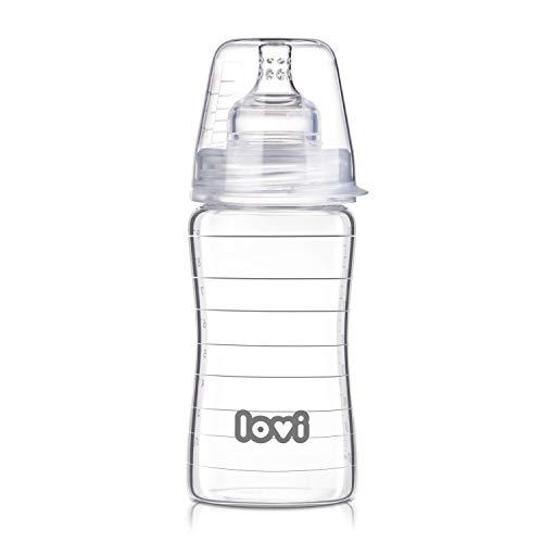 LOVI Anticólica Botella Biberón de Vidrio con Tetina Dinámica Silicona | 250ml | Sistema SUPER Air Vent | Protege el Reflejo Natural de Succión de Bebé