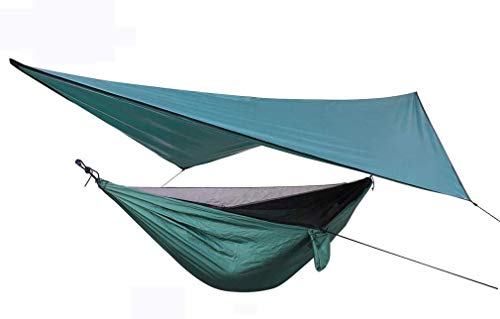 Nologo tent Canopy Mosquito Net Hammock Set, Nylon Parachute Cloth Anti-Mosquito Tent Sun Screen, Outdoor Leisure, Green