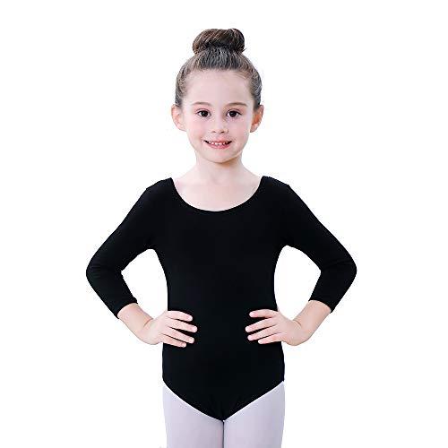 Soudittur Maillot de Ballet Danza Clásico para Niña Manga 3/4 Body Leotardo Gimnasia Ritmica (Negro, Tag 100 (Height: 95-105 cm))