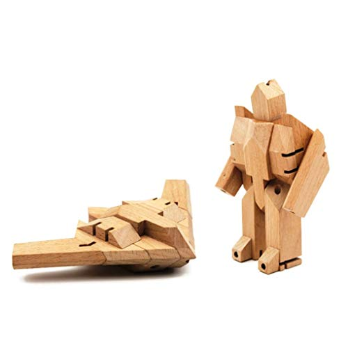 Bamloff WooBot - Wooden Robot Transforms into a Stealth Fighter