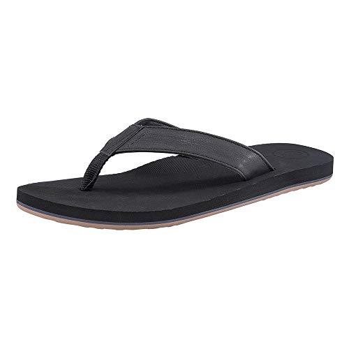 Volcom Men's Fathom Synthetic Leather Sandal, Black Out, 7 D US