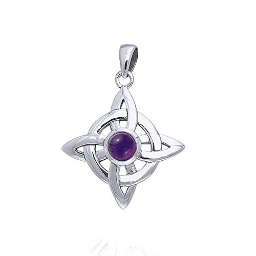 Wheel of Being Celtic Knot Northstar and Genuine Amethyst Sterling Silver Pendant 18' Necklace