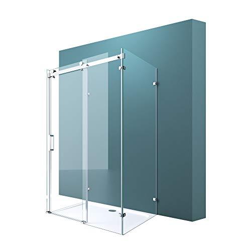U-Form Duschkabine 80x120x80cm Rahmenlos Höhe:195cm 8mm Schiebetür Duschabtrennung ESG Nano Klarglas 4-Punkt Halterung Duschwand Rav17-2UK
