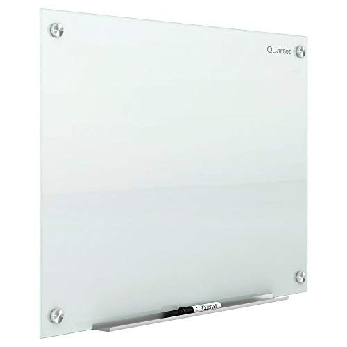 Quartet Glass Whiteboard, Magnetic Dry Erase White Board, 4' x 3', Frameless Infinity Wall Hanging Mount, Home School Supplies or Home Office Decor, Includes 2 Magnets, 1 Dry Erase Marker (G4836W)