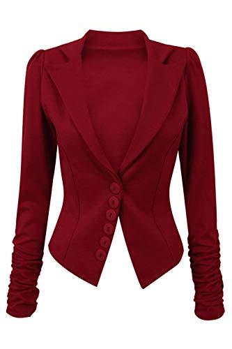 Be Jealous Faruen Damen Lange Rüschen Ärmel Schlank Büro Halsband Beiläufig Blazer Mantel Jacke
