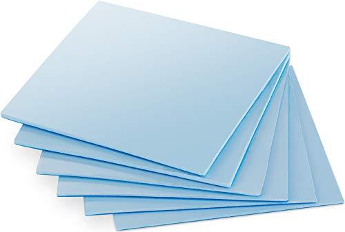 POPPSTAR 6X Wärmeleitpad 50x50 mm mit 6 W/mk Wärmeleitfähigkeit (3 Stärken, je 2 Stück 0,5mm / 1mm / 1,5mm) Farbe blau