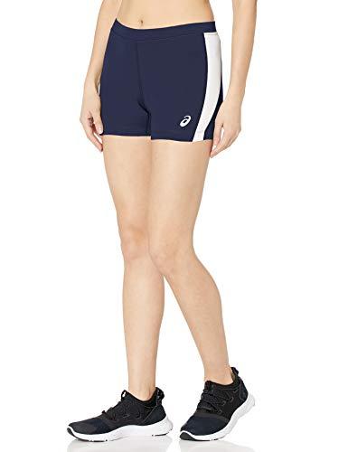 ASICS Chaser - Pantalón Corto de compresión para Mujer, Mujer, Pantalones Cortos, TF2681, Azul y Blanco, M
